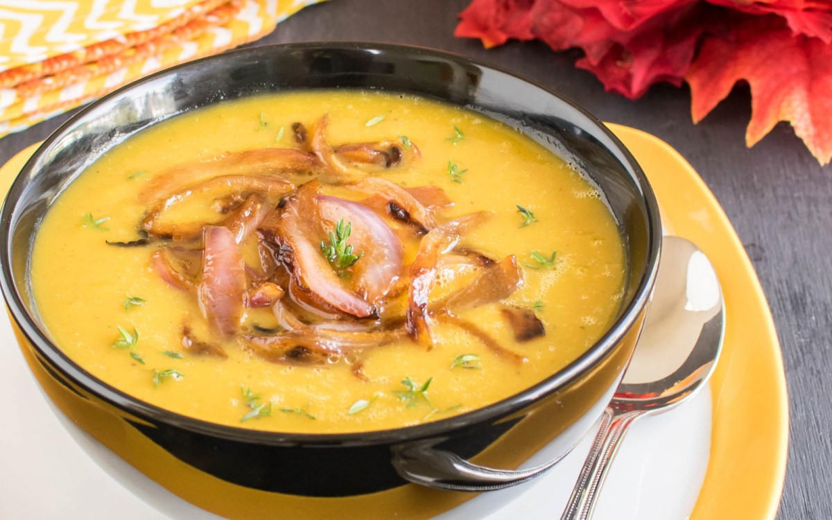 Apple Pumpkin Soup With Caramelized Onions