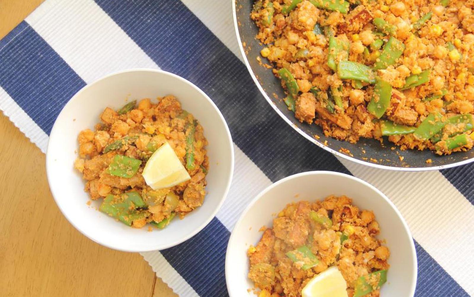 Tofu Chorizo and Lemon Cauliflower Rice [Vegan, Gluten-Free]