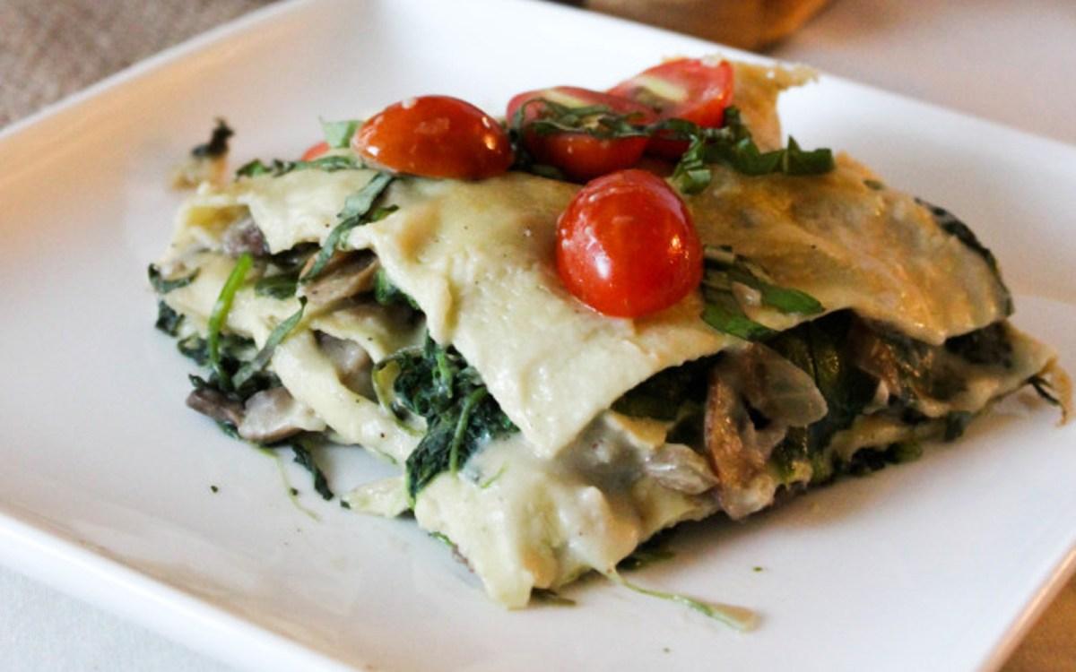 Spinach and Mushroom Alfredo Lasagna