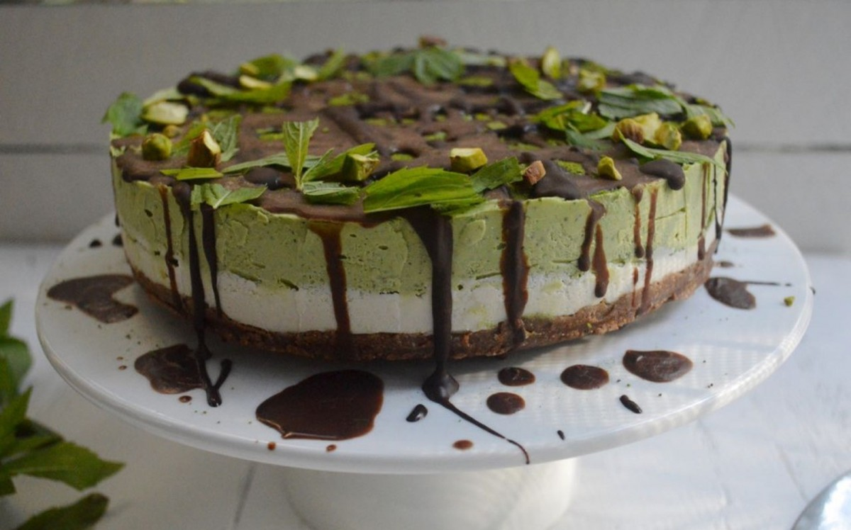 Matcha Green Tea and Mint Cheesecake