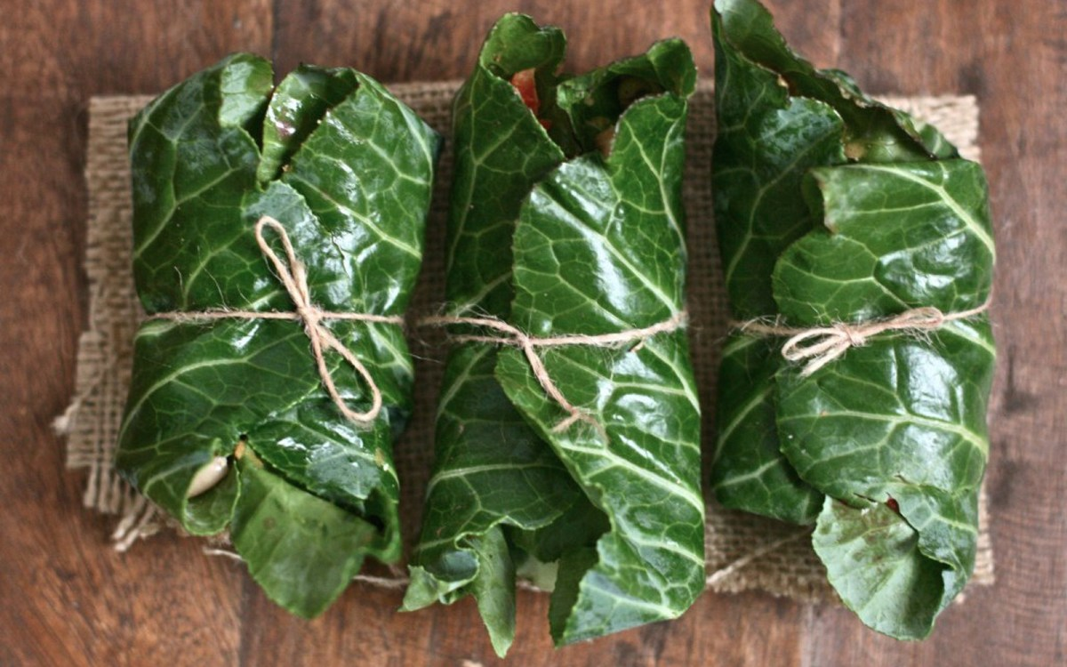 Black-Eyed Pea Collard Wraps With Pickled Vegetables and Ginger-Peanut Sauce