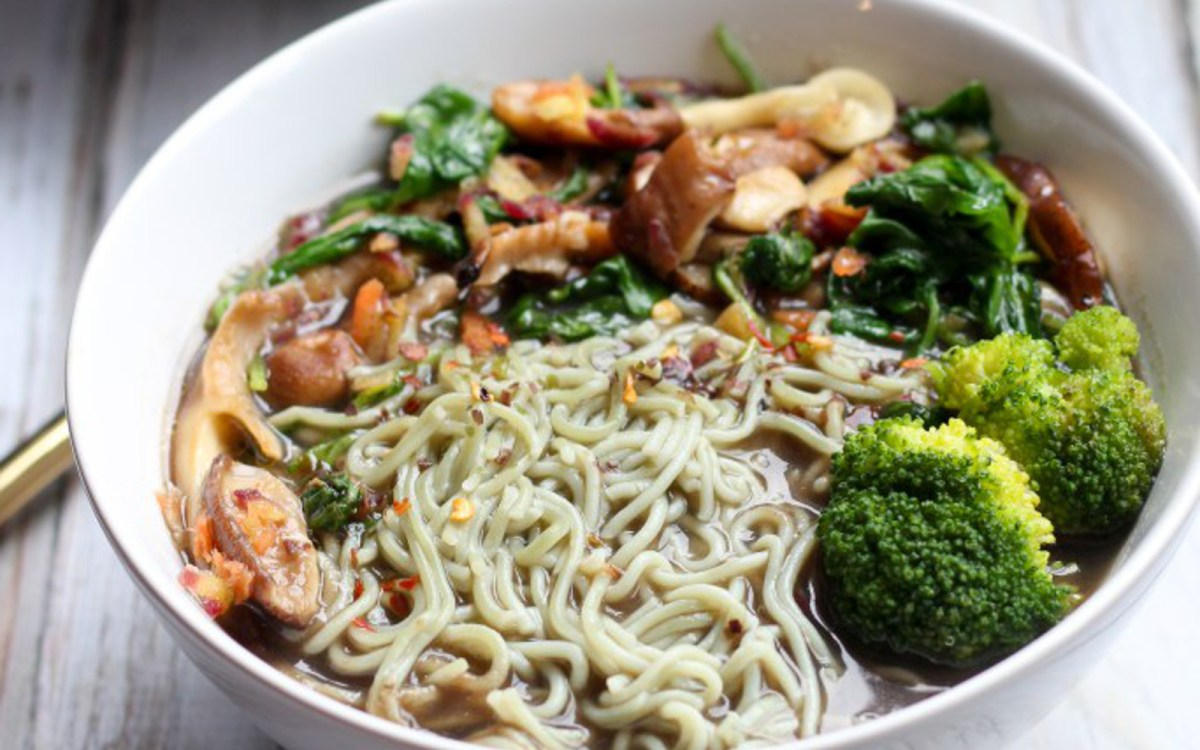 Savory Mushroom and Vegetable Ramen Soup