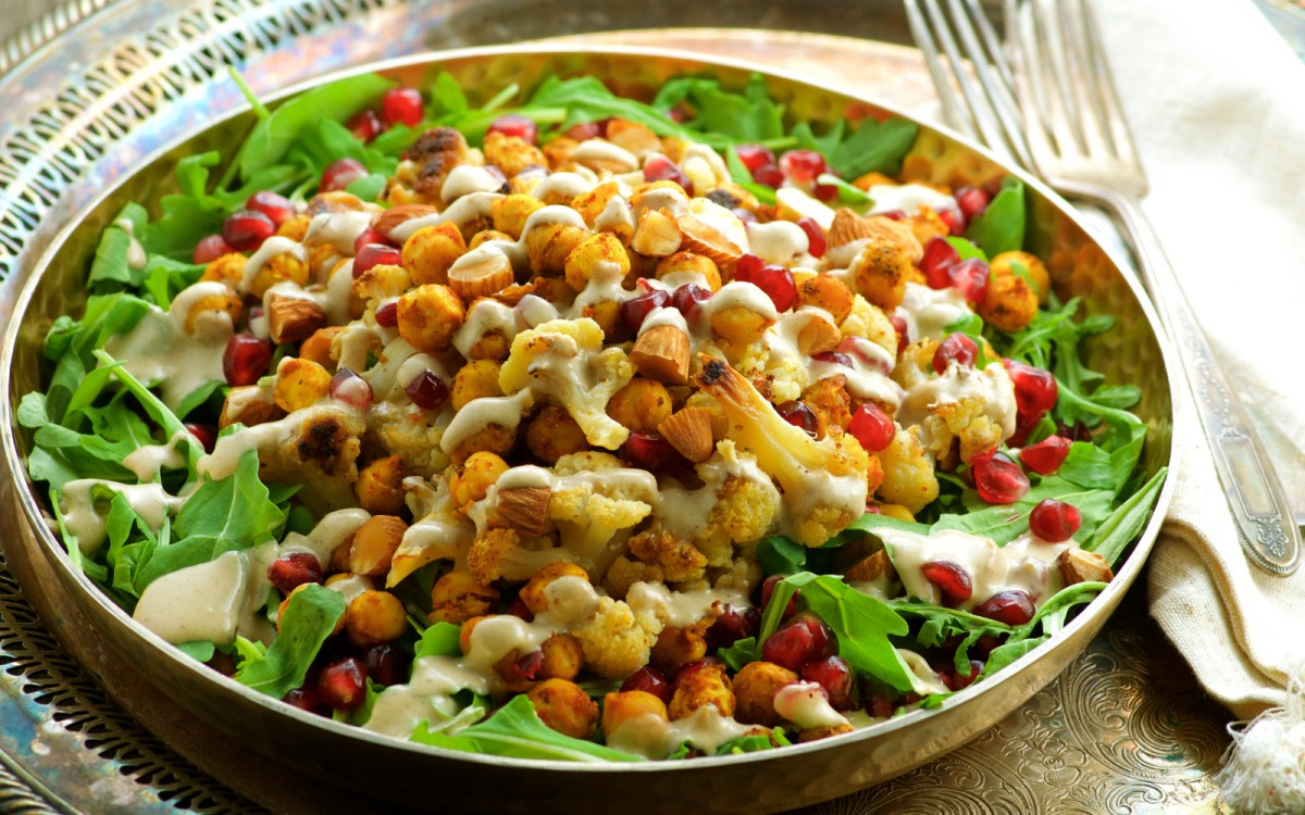 Roasted Cauliflower and Spiced Chickpea Salad