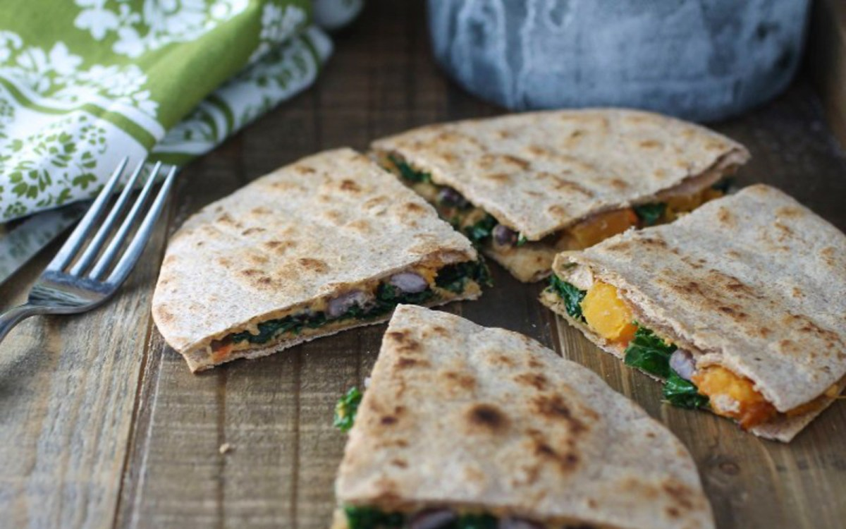 Butternut, Kale, and Black Bean Quesadillas