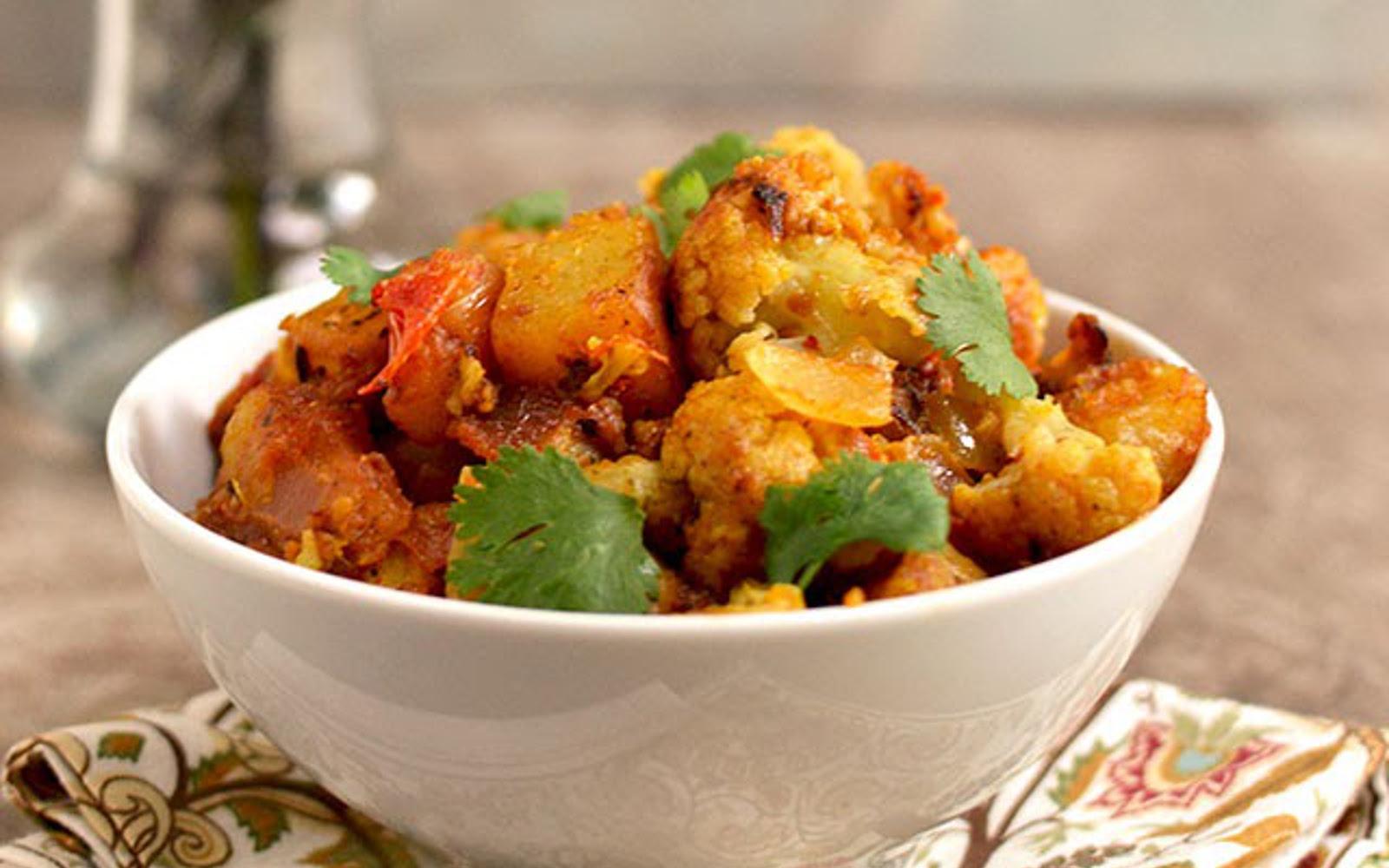 dry potato and cauliflower curry