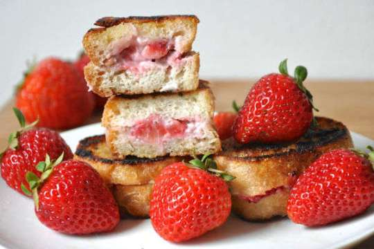 vegan Strawberry Pecan Stuffed French Toast