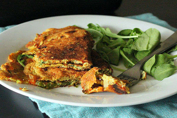 Chickpea Flour Omelette With Spinach, Onion, and Bell Peppers