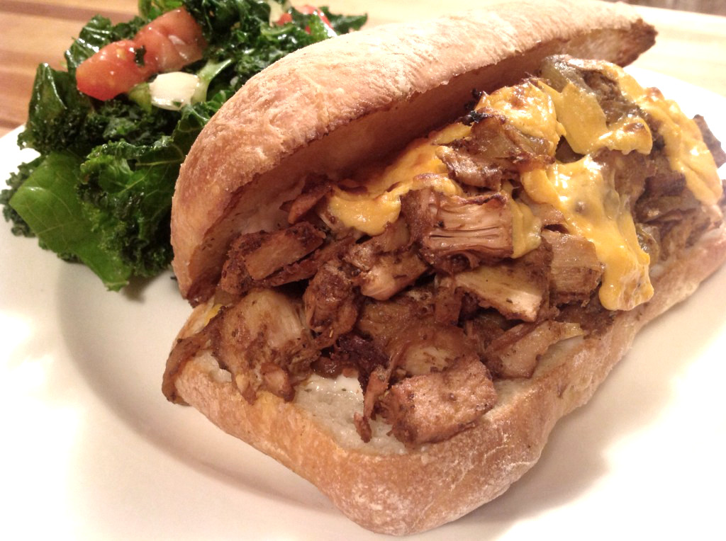 Jackfruit Philly Cheesesteak Sandwich