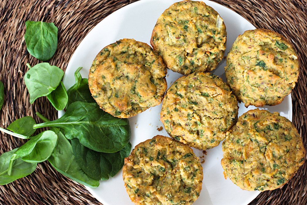 Savory Whole Grain Spinach Biscuit Muffins