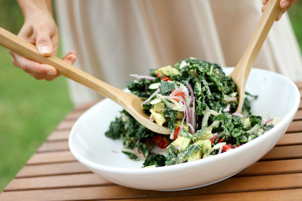Vegan Avocado Kale Chili Salad