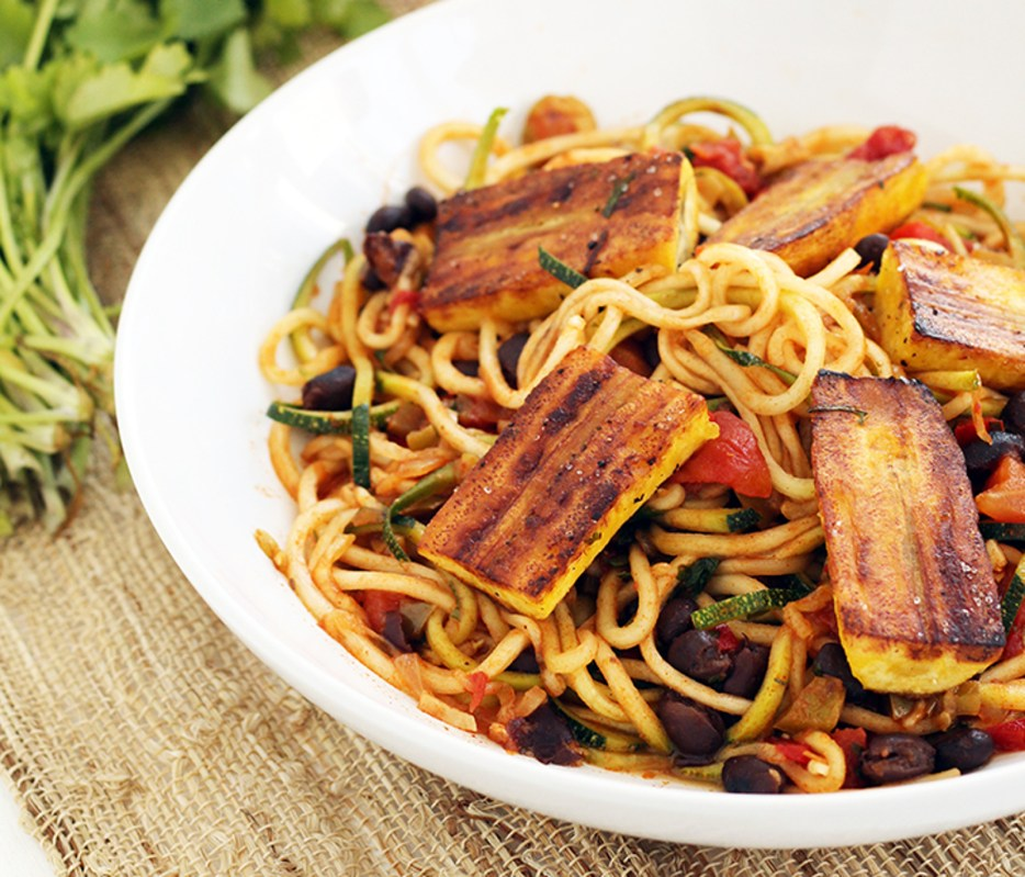 Vegan Sofrito Zucchini Pasta With Beans and Lightly Fried Plantains