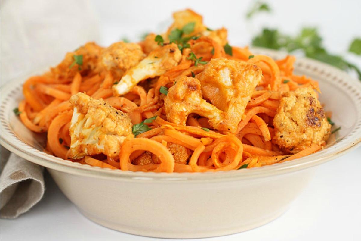 Vegan Gluten Free Grain Free Buffalo Cauliflower With Sweet Potato Noodles