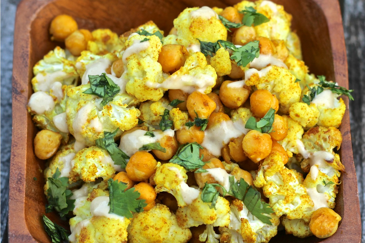 Curry Spice Roasted Cauliflower and Chickpeas [Vegan, Gluten-Free]