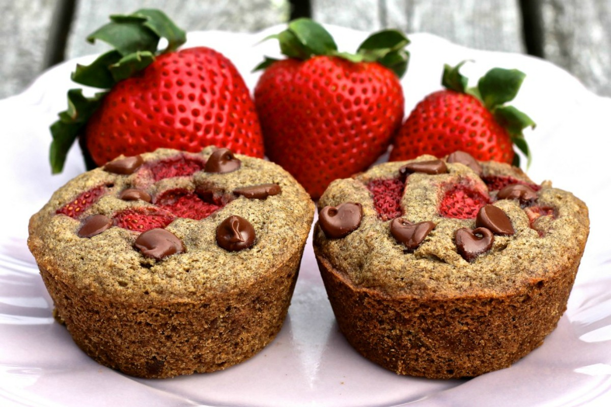 Strawberry Chocolate Chip Buckwheat Muffins [Vegan, Gluten-Free]