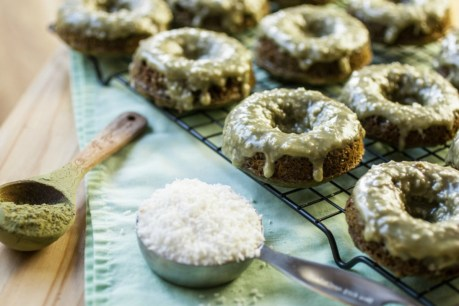 Green Tea Donuts With Crunchy Coconut Glaze [Vegan]