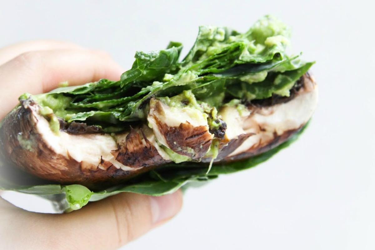 Portobello Burgers With Collard Greens and Guacamole [Vegan, Raw, Gluten-Free]