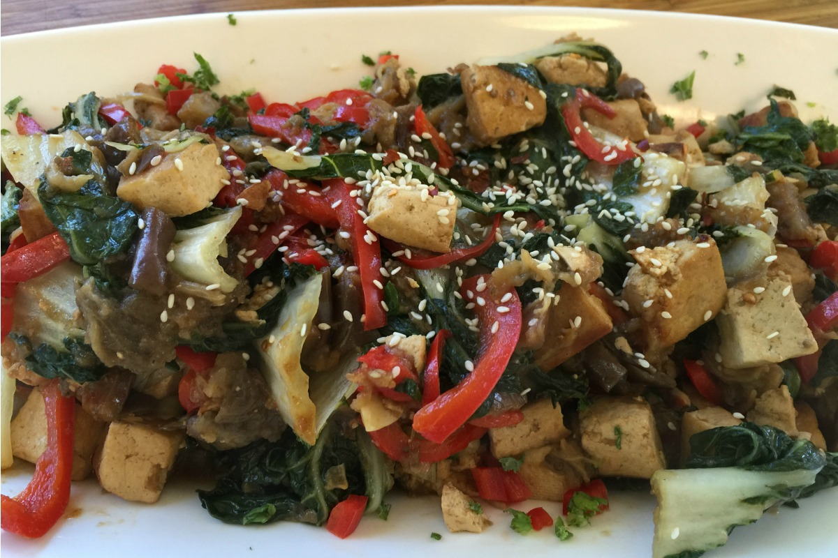 Seared tofu with chinese eggplant and baby bok choy vegan one seared tofu with chinese eggplant and baby bok choy vegan one green planet forumfinder Images
