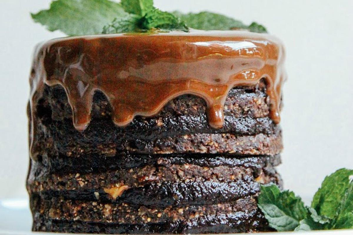 Double Chocolate Layer Cake [Vegan, Raw, Gluten-Free] | One Green ...