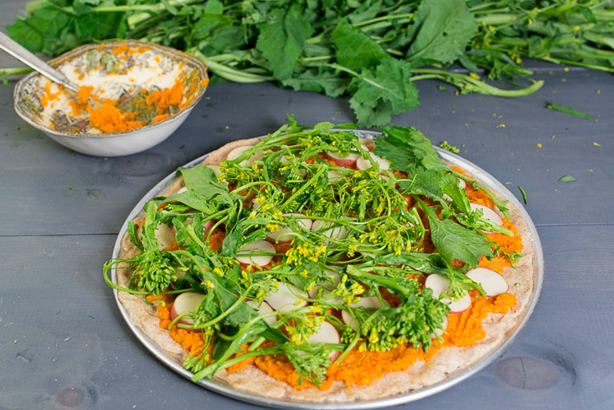 Broccoli Rabe Potato Pizza With Carrot Miso Sauce and Hazelnuts