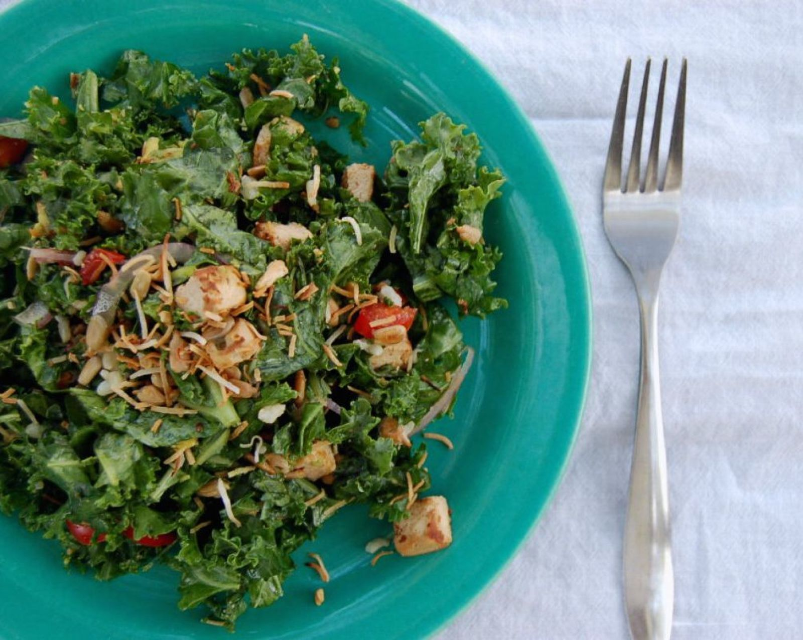 Toasted Coconut Kale Salad With Tofu, Brown Rice, and Lime [Vegan, Gluten-Free]