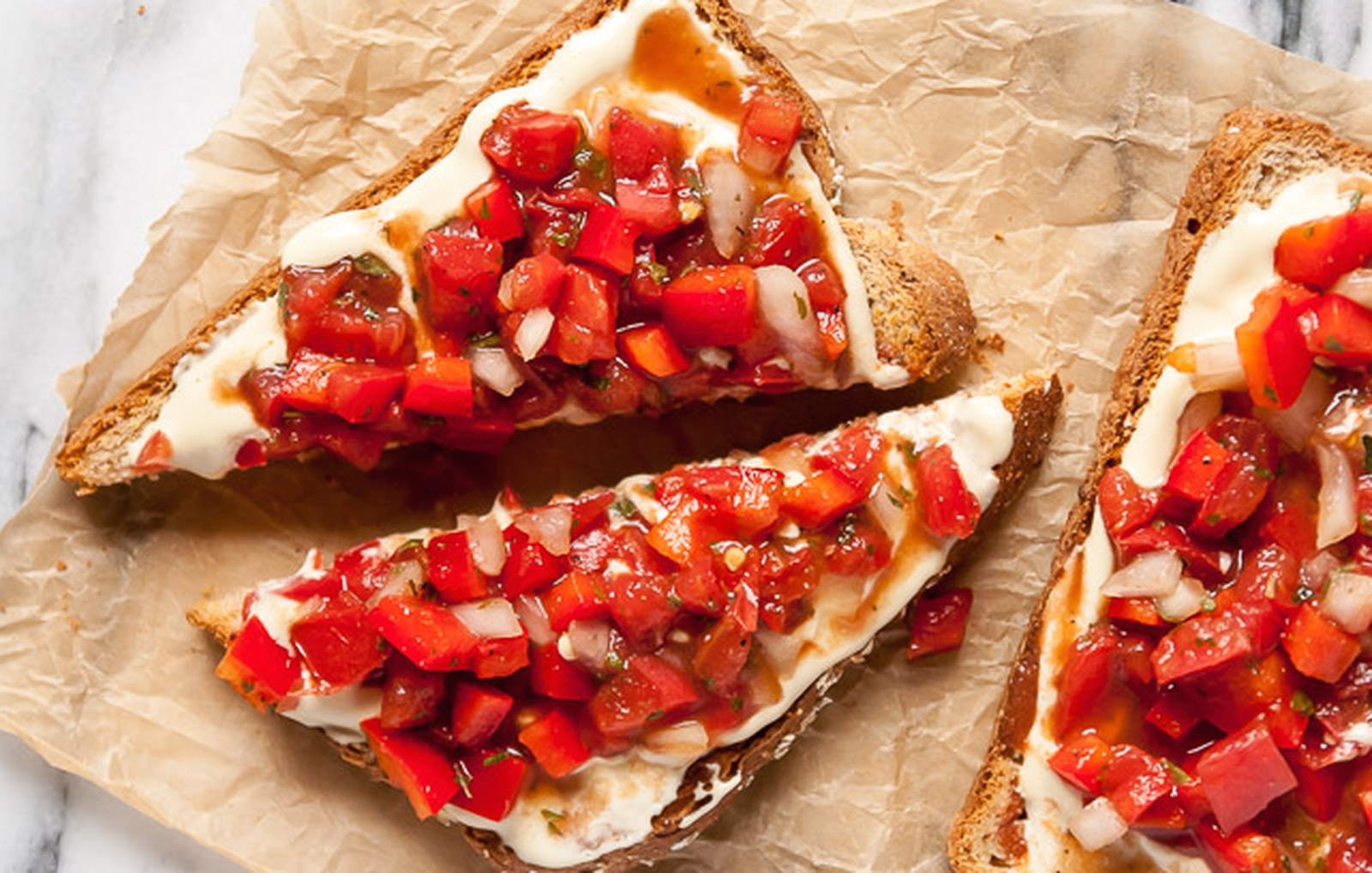 Simple Red Pepper Bruschetta With Homemade Roasted Garlic Ricotta [Vegan]