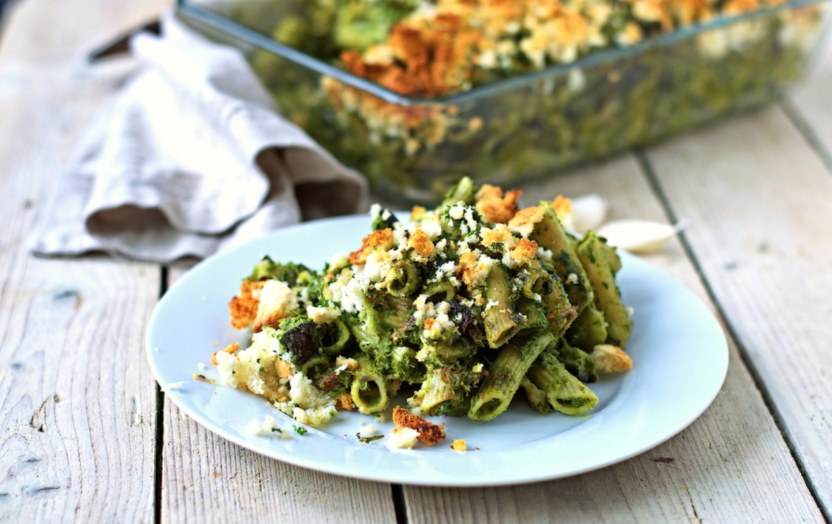 Vegan Comforting Kale Pesto Pasta Casserole