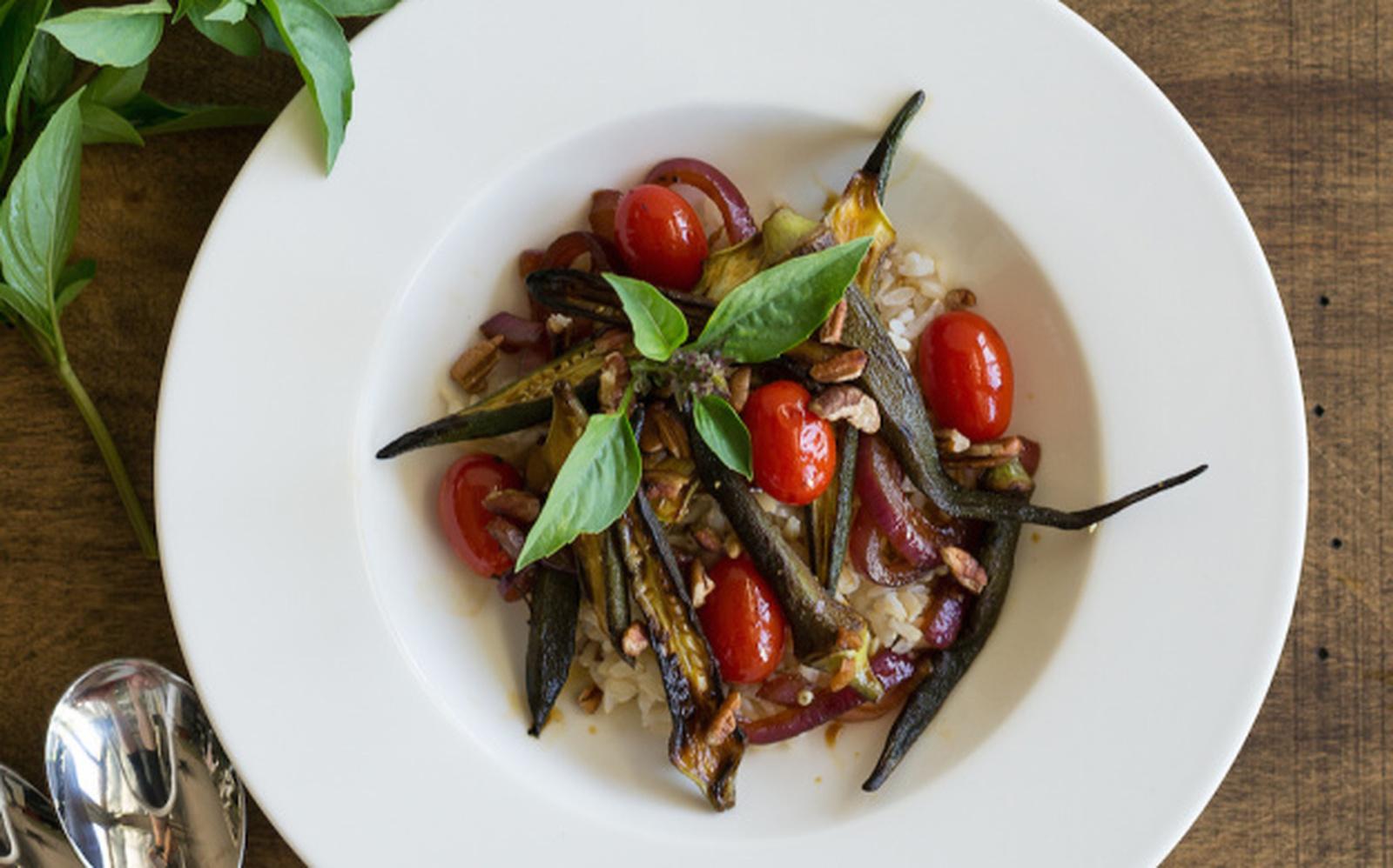 Southern Okra, Pecan, and Cherry Tomato Stir-Fry [Vegan, Gluten-Free]