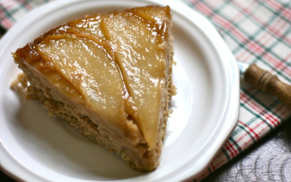 Ginger Spiced Pear Upside Down Cake Vegan Gluten Free One Green