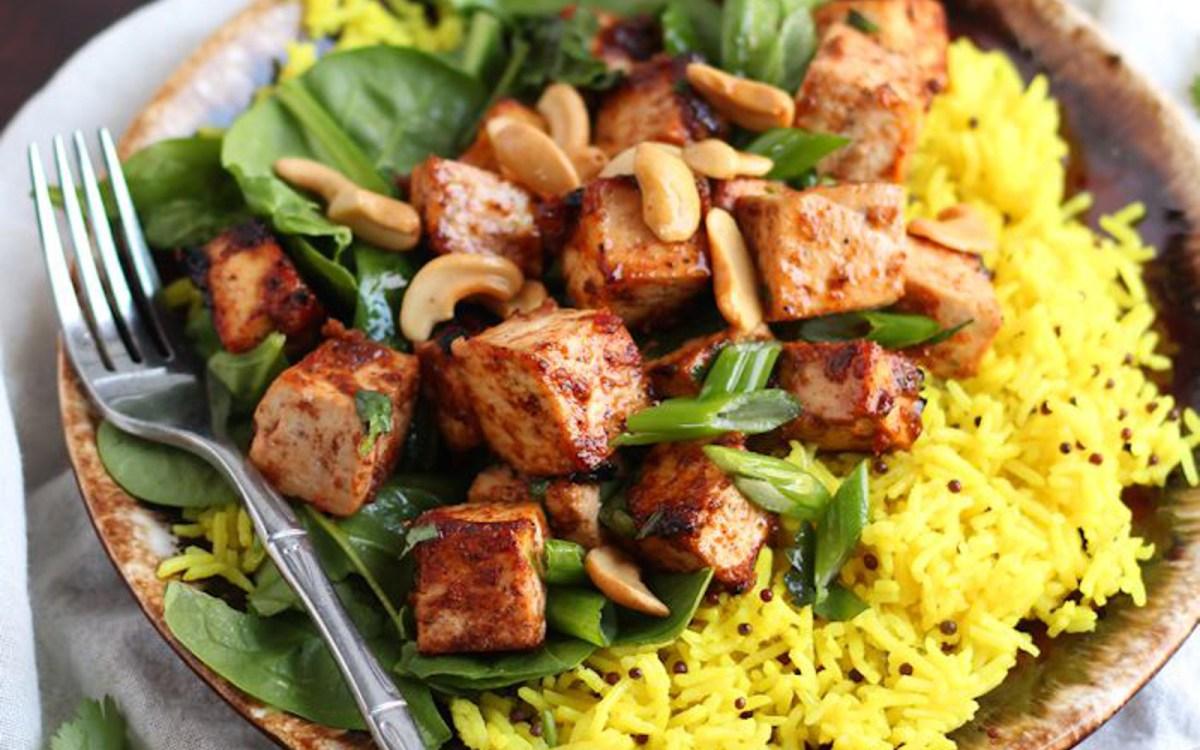 Masala Baked Indian Tofu With Turmeric Rice