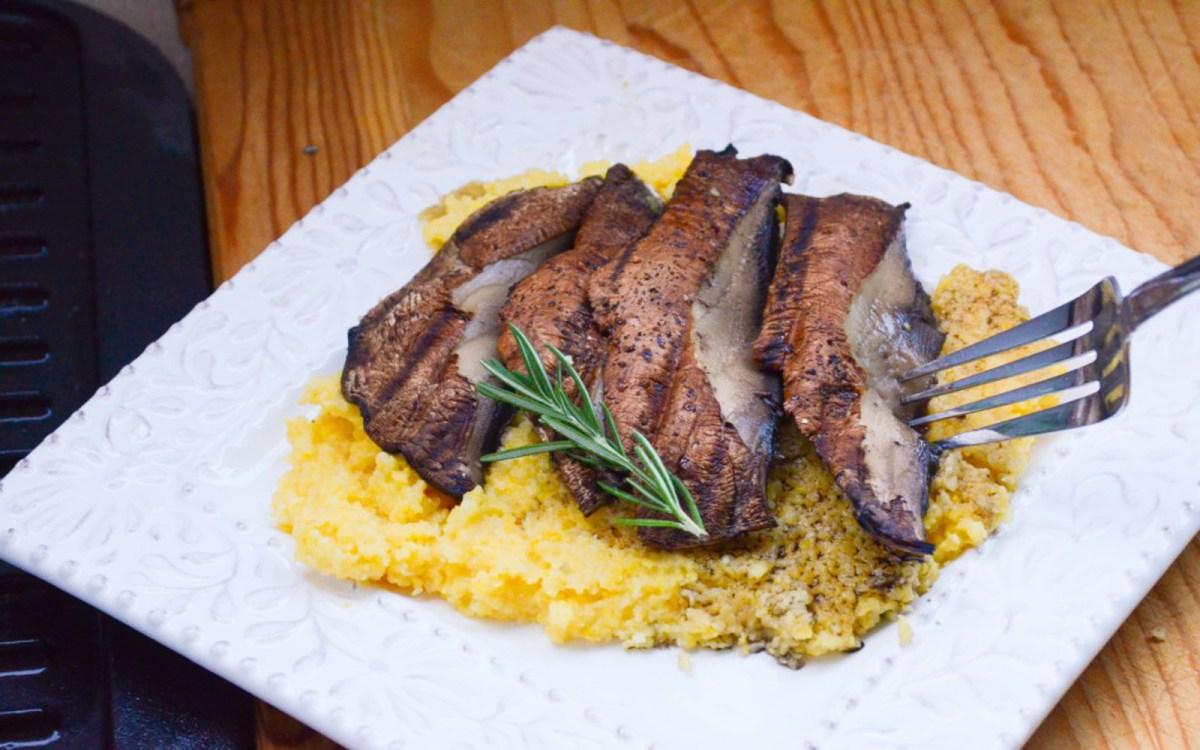 Vegan Portobello Mushroom Steaks With Cheesy Rosemary Polenta