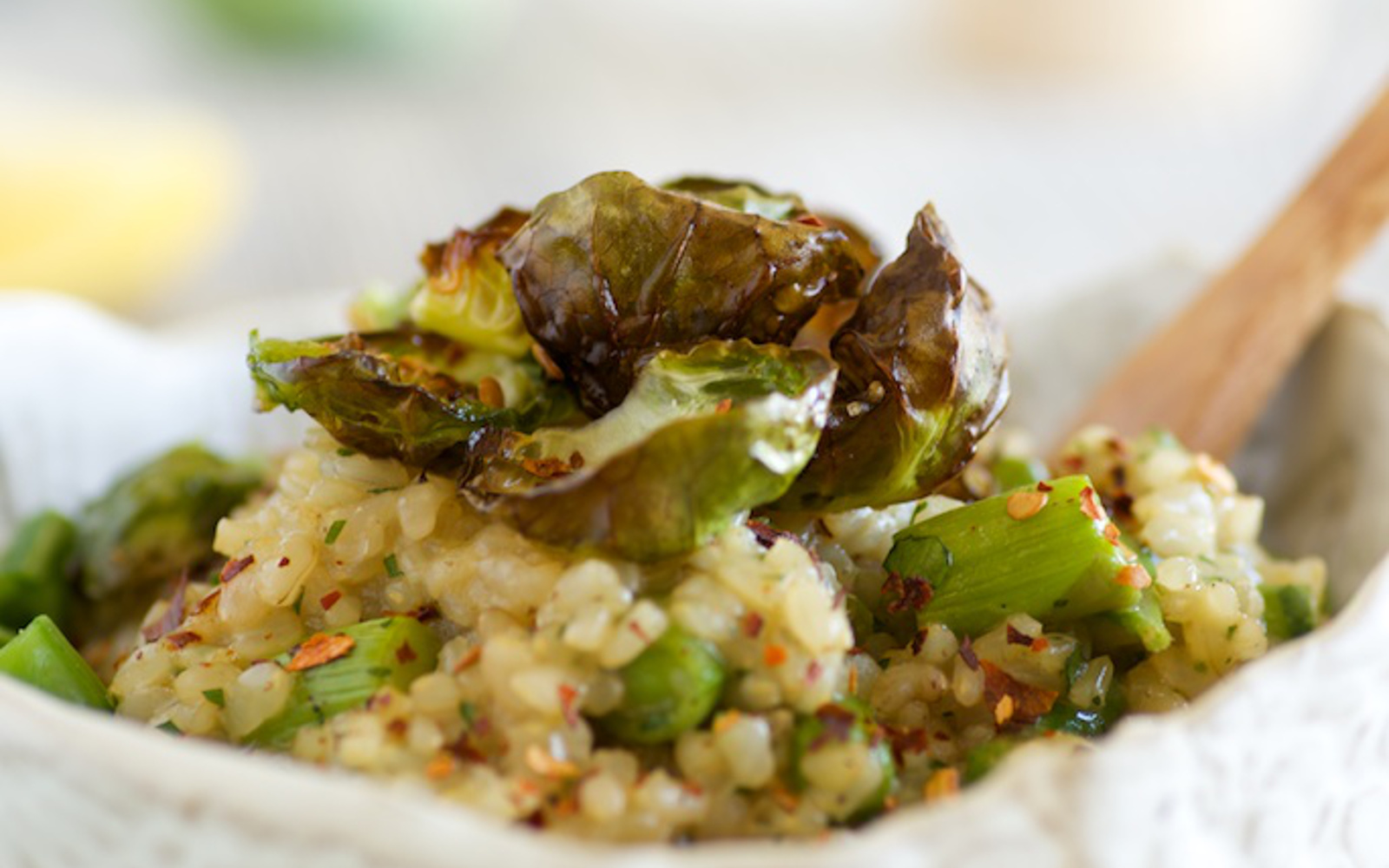 risotto with crispy brussels sprouts