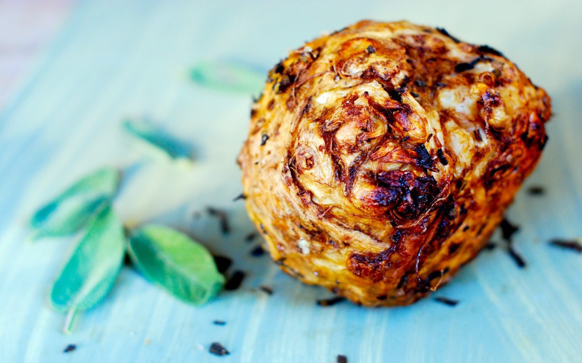 Whole roasted celeriac with herbs olive oil and sea salt vegan whole roasted celeriac with herbs olive oil and sea salt vegan one green planet forumfinder Images