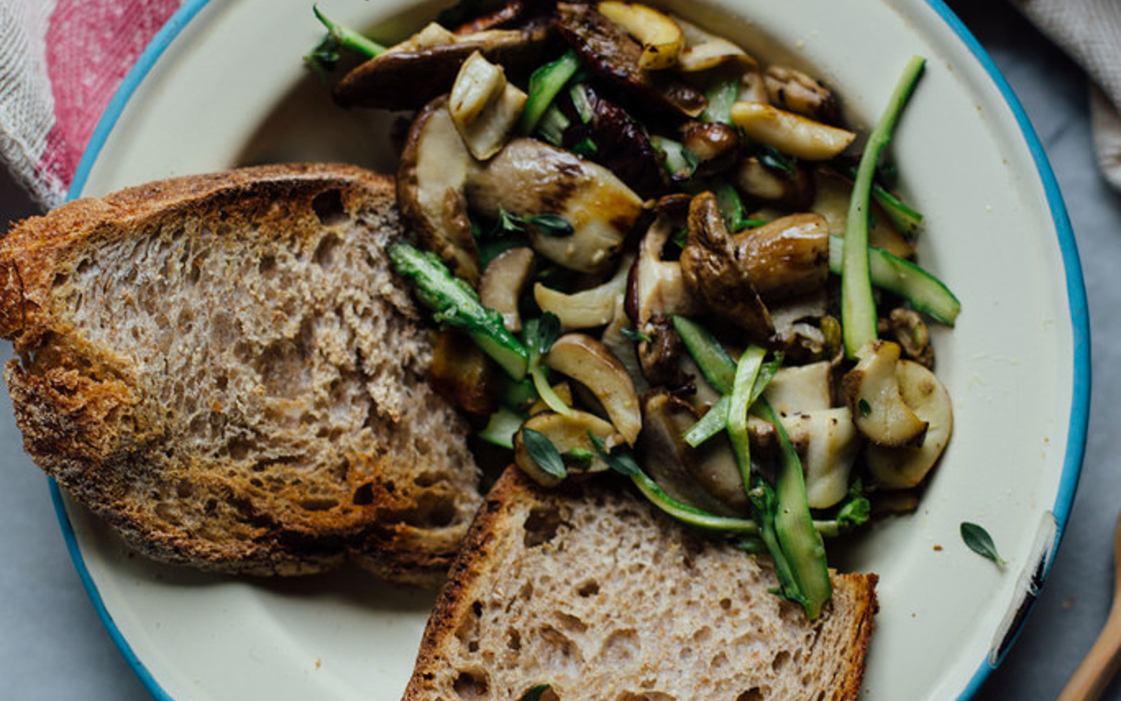 Buttery Porcini Mushrooms and Asparagus on Toast