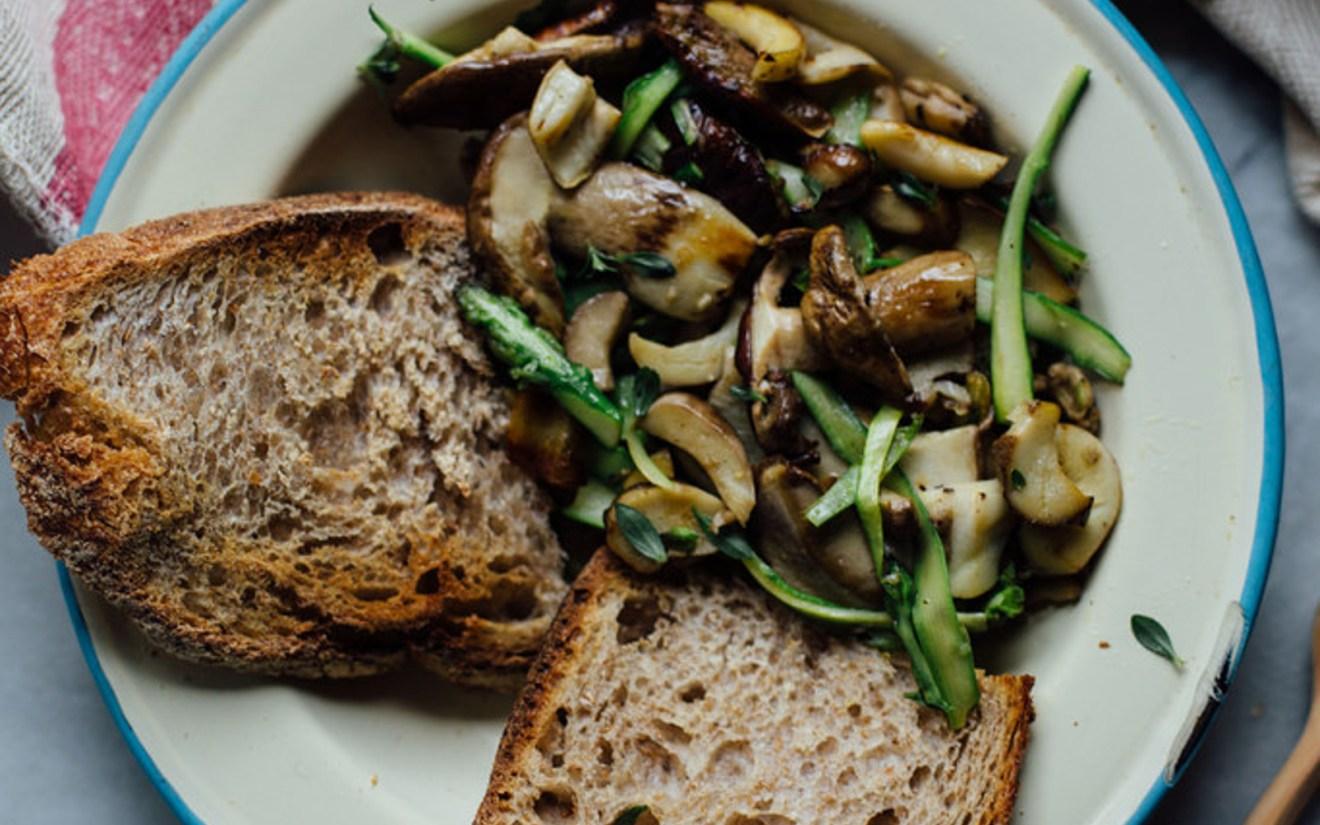 Buttery Porcini Mushrooms and Asparagus on Toast