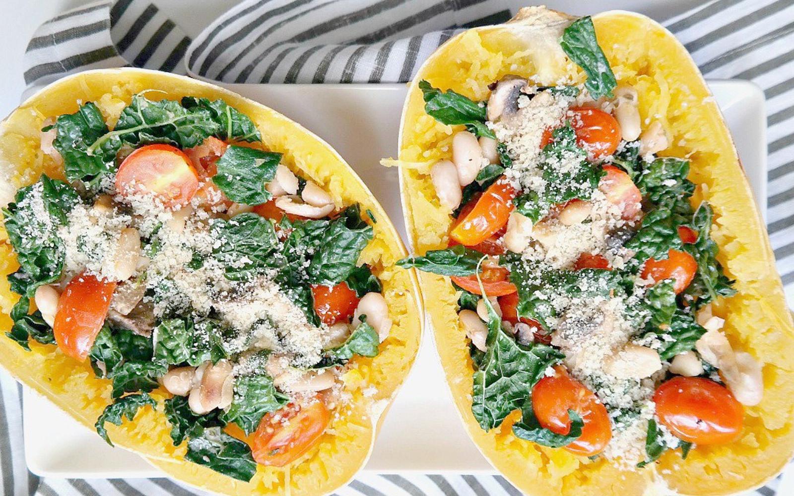 tuscan kale and mushroom stuffed spaghetti squash