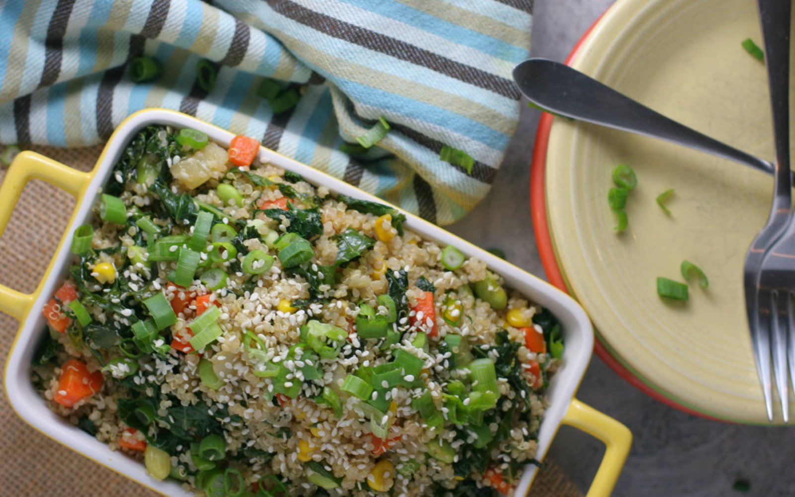 High Protein Edamame Fried Quinoa Rice