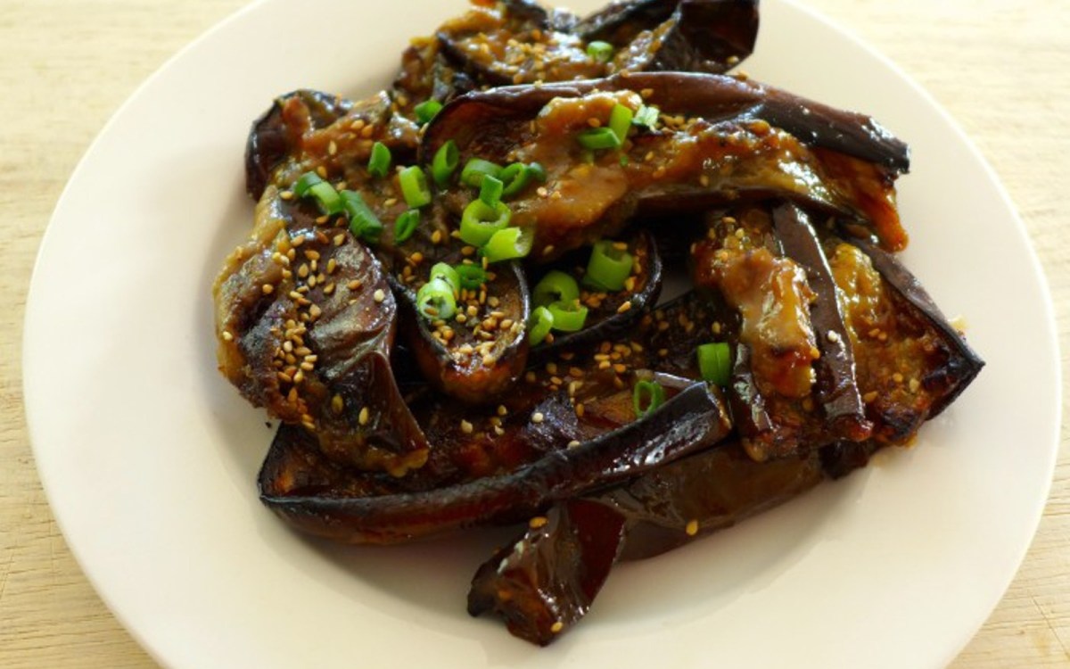 Vegan Miso-Roasted Japanese Eggplant and Zucchini