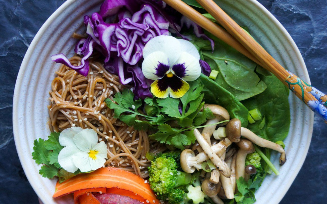 Thai Red Curry With Soba Noodles and Sauteed Shimeji Mushrooms