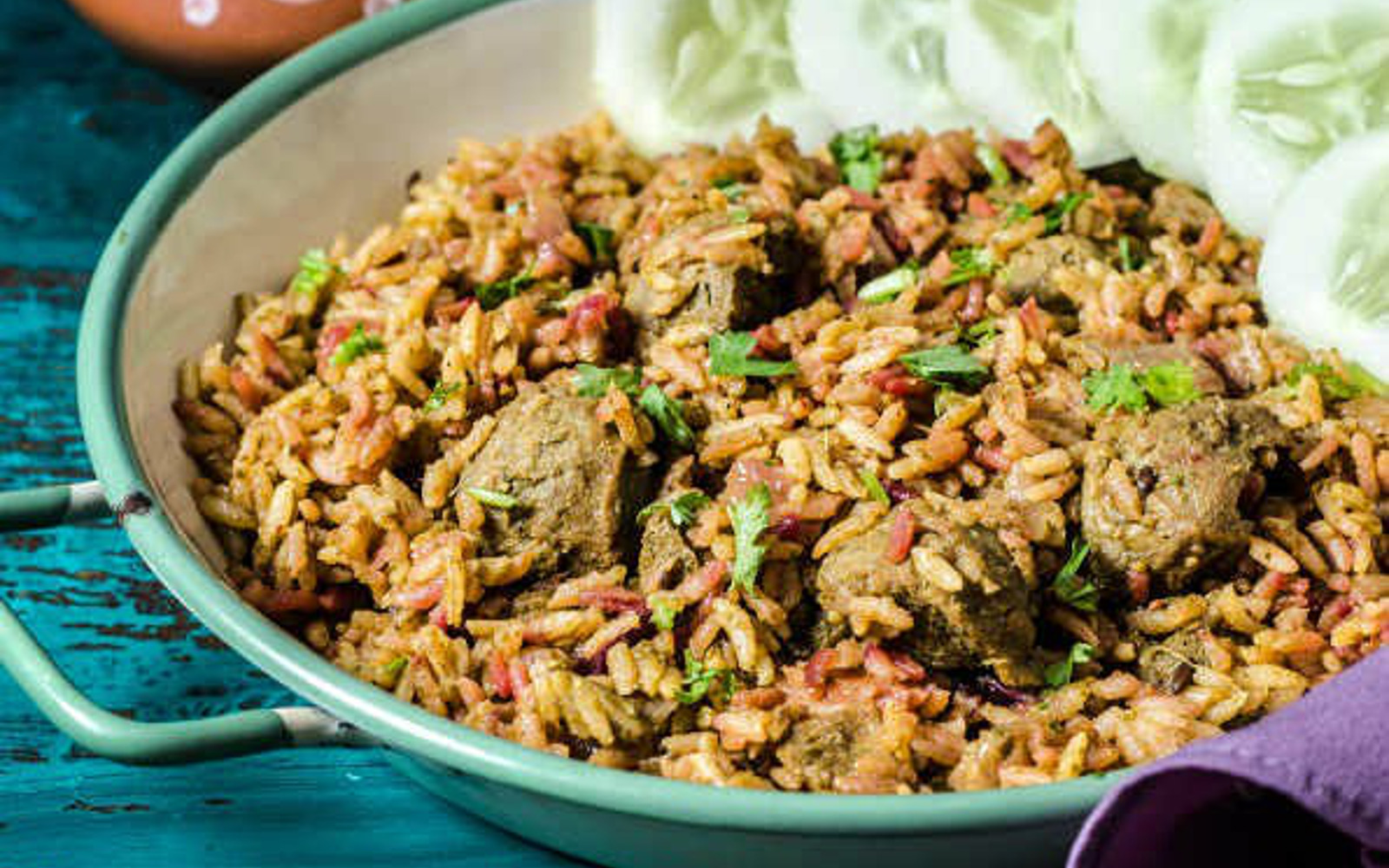High-Protein Beet Biryani With Basmati Rice