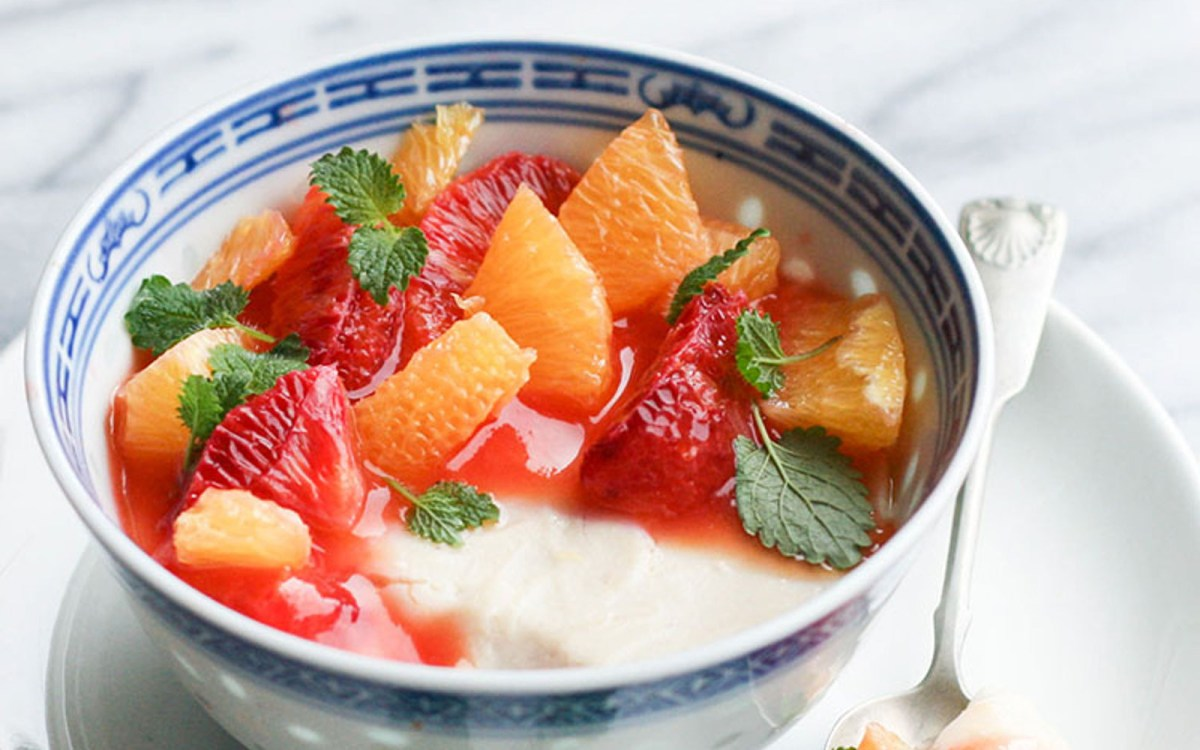 Vegan Chamomile Panna Cotta With Citrus Fruits
