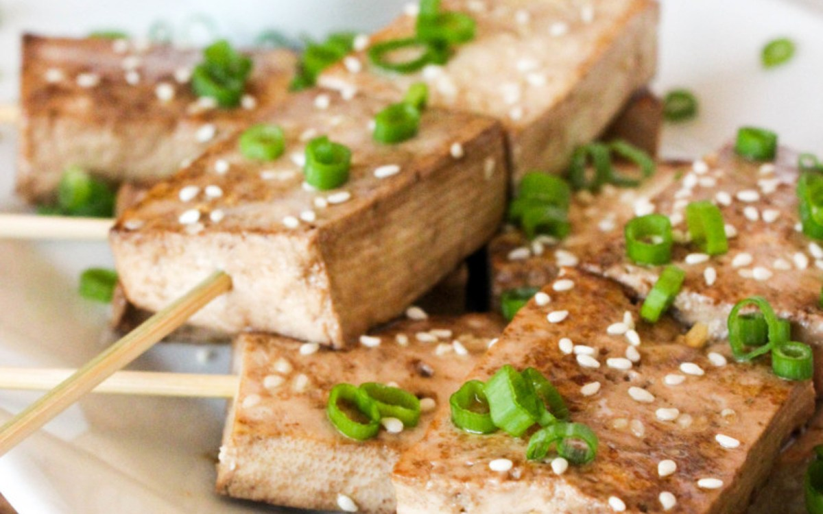 Sesame Ginger Tofu Skewers With Peanut Dipping Sauce ...