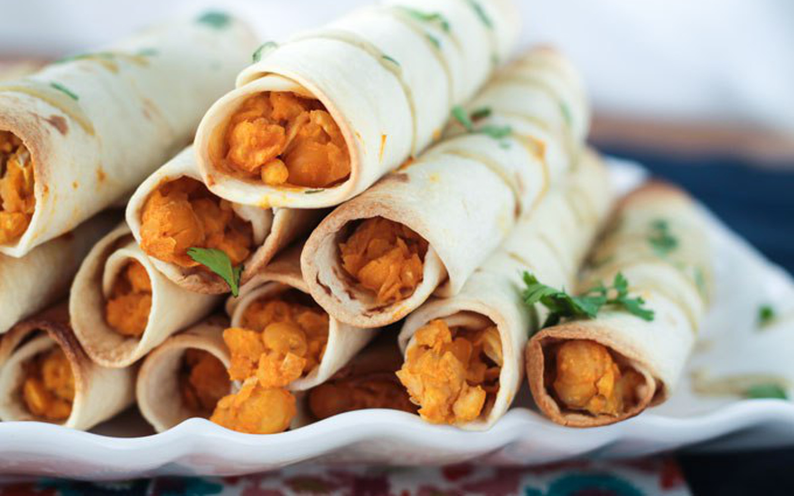 Vegan Freezable Buffalo Chickpea Taquitos