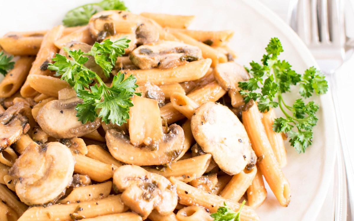 Vegan Gluten Free Pasta Mushroom Stir-Fry