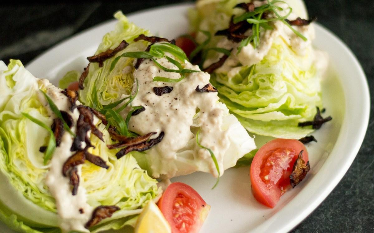 Iceberg Wedge Salad With Shiitake Bacon [Vegan] - One ...