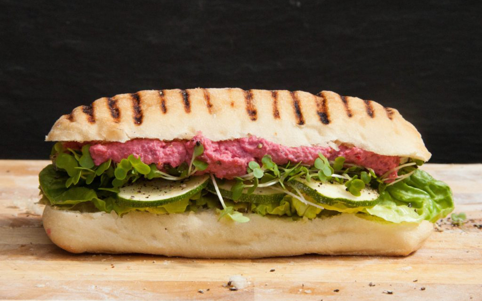 Beet Hummus and Greens Panini