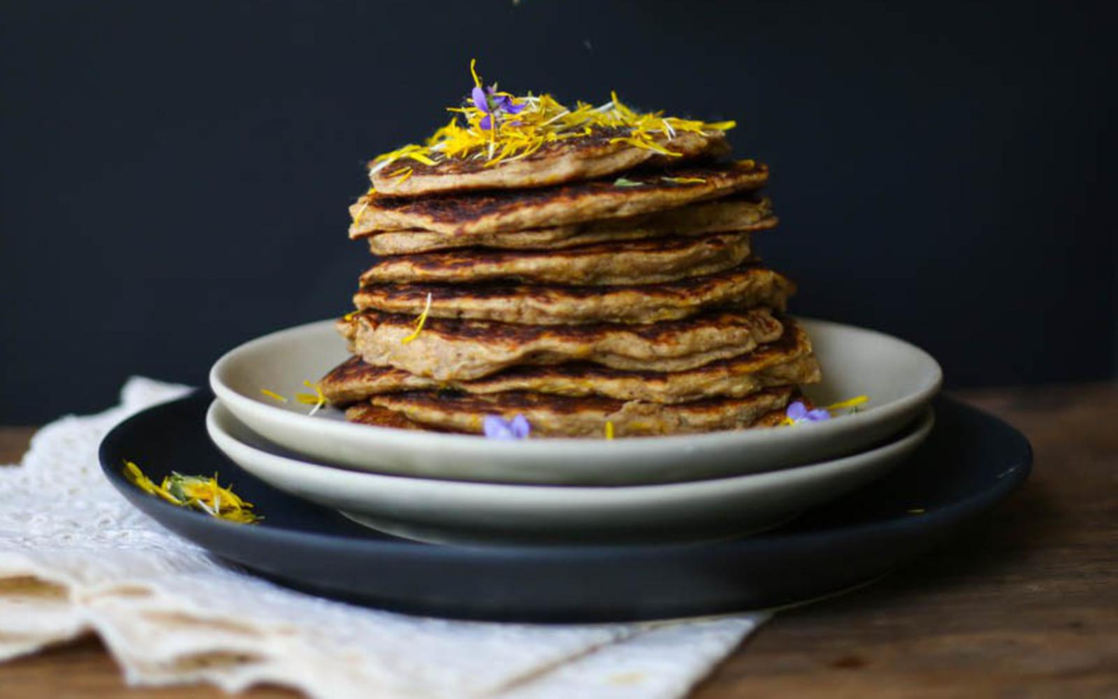 Banana Dandelion Pancakes