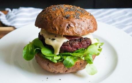 Meaty Beet Burger With Cashew Cheese [Vegan, Gluten-Free]
