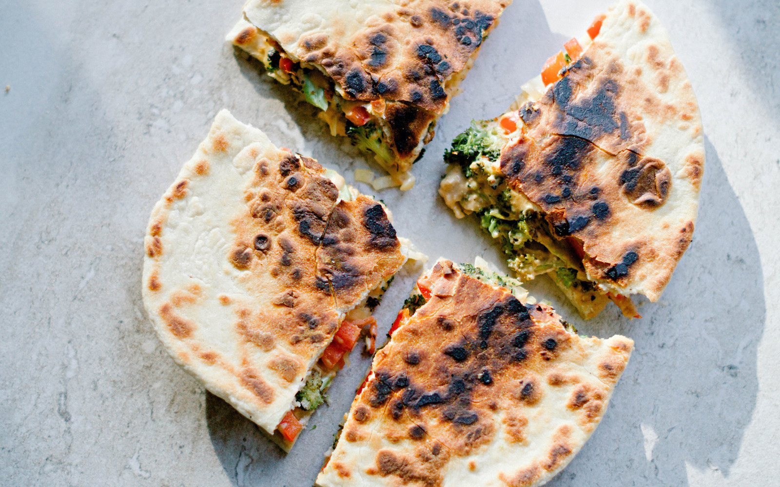 Roasted Broccoli and Sauerkraut Quesadilla [Vegan]