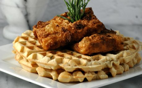 vegan fried chicken and waffles
