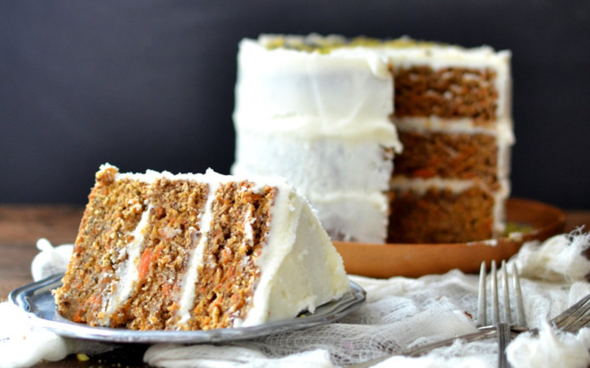 Vegan Cardamom Carrot Cake With Kombucha Frosting